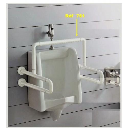 Double barre d'appui fixe et reliée / Nylon blanc - Antibactérien